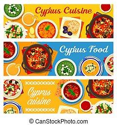konyha, étkezés, ciprusi, ciprus, szalagcímek, állhatatos, vektor