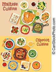 konyha, ciprusi, állhatatos, élelmiszer, tervezés, máltai, ikon