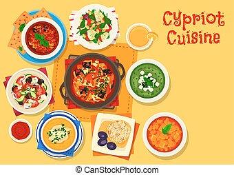konyha, ciprusi, élelmiszer, étrend, görög, tervezés, ikon