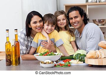 konyha, család portré