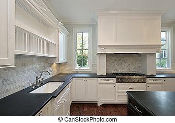 konyha, fekete, countertops