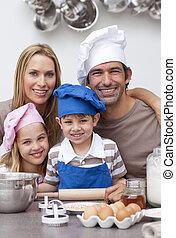 konyha, sülő, család portré
