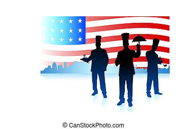 konyhafőnökök, lobogó, egyesült államok, egyesült, háttér