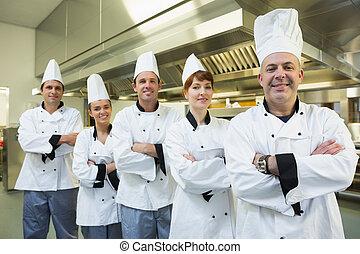konyhafőnökök, mosolygós, fényképezőgép, befog