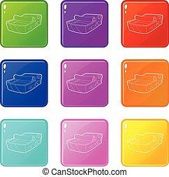 konzervált, állhatatos, ikonok, szín, fish, gyűjtés, 9