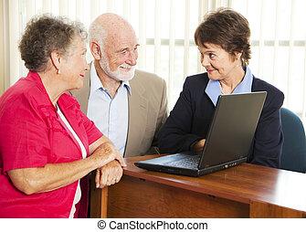 konzulens, párosít, anyagi, idősebb ember