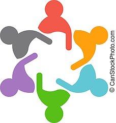 konzulensek, csapatmunka, conferencevectorillustration, ügy