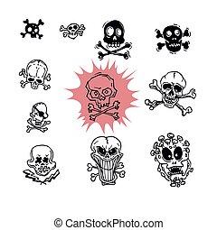 koponya, ábra, embléma, keresztbe tett, kalóz, játékkockák