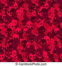koponya, camouflage., pattern., seamless, camo, piros