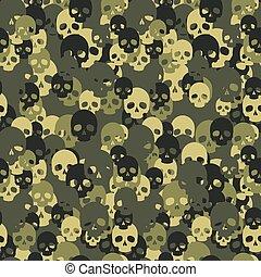 koponya, camouflage., pattern., seamless, camo, zöld