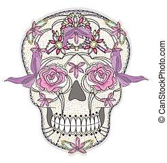 koponya, csinos, színes, skull., mexikói