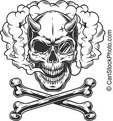 koponya, démon, monochrom, szüret, cvikker