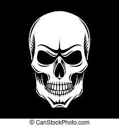 koponya, fehér, fekete