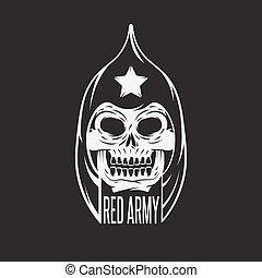 koponya, hadsereg, katona, vektor, tervezés, sablon, piros