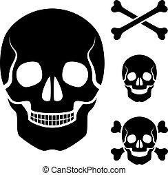 koponya, jelkép, kereszt, vektor, emberi, játékkockák