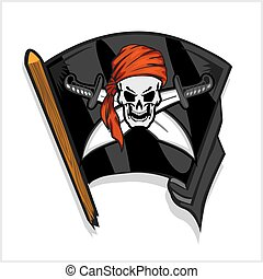 koponya, kard, kereszt, lobogó, fekete, kalóz