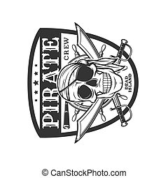 koponya, kard, vektor, keresztbe tett, kalóz, ikon, embléma