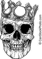 koponya, király, királyi lombkorona, emberi csontváz