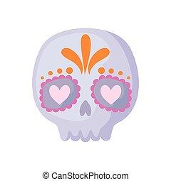 koponya, mexikói, white háttér