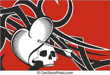 koponya, szív, tetovál