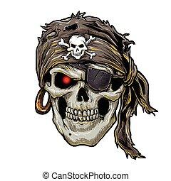 koponya, tarka selyemkendő, kalóz, fekete