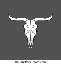koponya, tehén, elvont, vektor, tervezés, sablon, texas