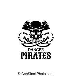 koponya, tervezés, kard, kapitány, kalap, kalóz, ikon
