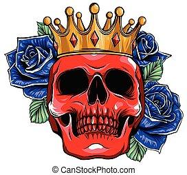 koponya, vektor, fejtető, fárasztó, ábra, király