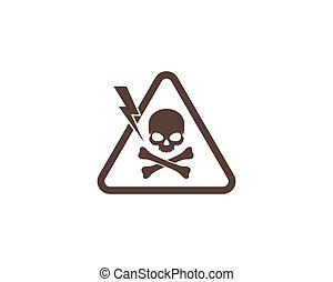 koponya, veszély, ábra, vektor, jel, feltétel