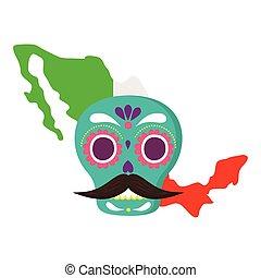 koponya, white lobogó, mexikó, mexikói, háttér, térkép