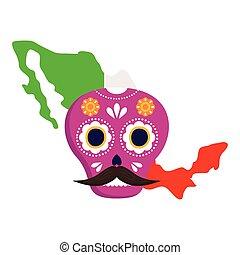 koponya, white lobogó, mexikó, rózsaszínű, mexikói, háttér, térkép