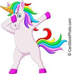 koppintás, csinos, karikatúra, egyszarvú, ló, tánc