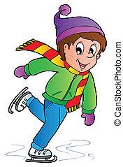 korcsolyázó, fiú, karikatúra