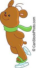 korcsolyázó, hord, jég, teddy-mackó