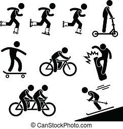 korcsolyázó, lovaglás, elfoglaltság