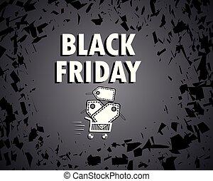 kordé, bevásárlás, illustration., banner., fogalom, nagy, ár, discount., friday., sale., shards., félő, vektor, fekete, dolgozat, tag.