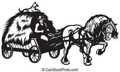 kordé, vidéki, húzott, ló
