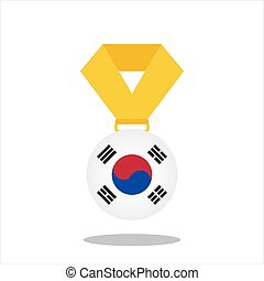 korea, -, elszigetelt, ábra, lobogó, vektor, háttér, fehér, érem