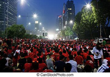 korea, tolong, csésze, éljenzés, utca, világ, déli