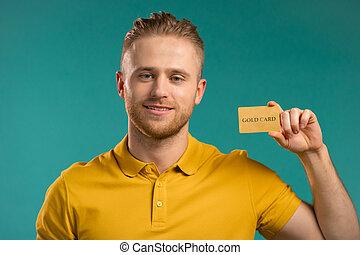 korlátlan, ember, sikeres, kártya, háttér., kiállítás, fényképezőgép, arany, néz, hitel, kék