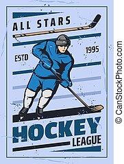 korong, játékos, játék, jég, bot, sport, jégkorong