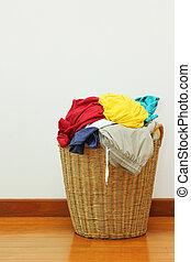 kosár, öltözet, mosoda
