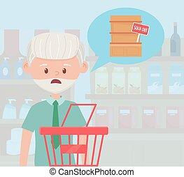 kosár, bevásárlás, öregember