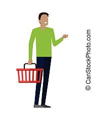 kosár, bevásárlás, ember