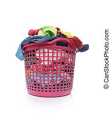 kosár, koszos, laundry.