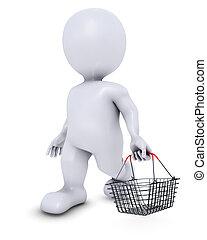 kosár, morph, bevásárlás, ember