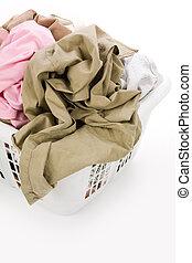 kosár, mosoda, öltözet, koszos
