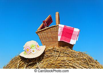 kosár, nyár, piknik