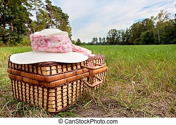 kosár, szalmaszál, piknik, kalap