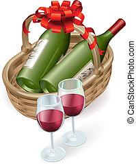 kosár, vesszőfonás, bor